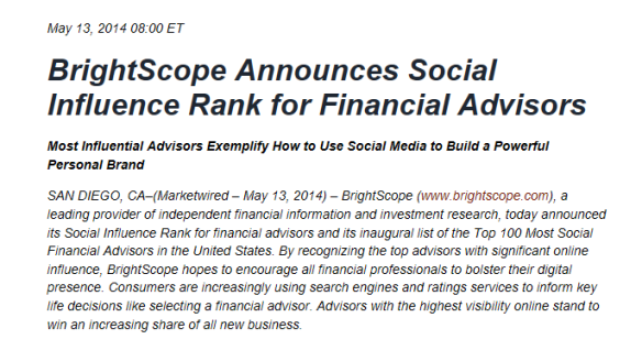 BrightScope Social Influence