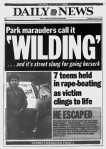 Daily News front page April 22,1989 Headline: Park marauders call it